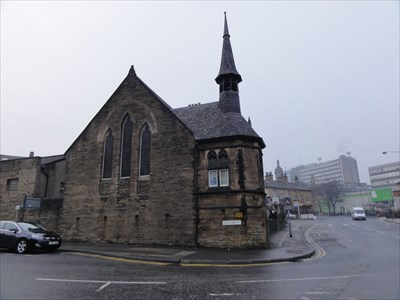 The green sign in the distance is on Bradford College who make use of the Delius Art and Cultural center in the church.