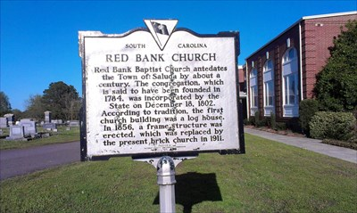 RED BANK CHURCH - Red Bank Baptist Church antedates the Town of Saluda by about a century.  The congregation, which is said to have been founded in 1784, was incorporated by the state on December 18, 1802.  According to tradition, the first church building was a log house.  In 1856, a frame structure as erected, which was replaced by the present brick church in 1911.