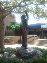 Walt Whitman spent his last years in Camden, NJ.  His statue stands in front of the Student Center of Rutgers University Camden Campus.  Nearby is the Walt Whitman Center in Johnson Park.