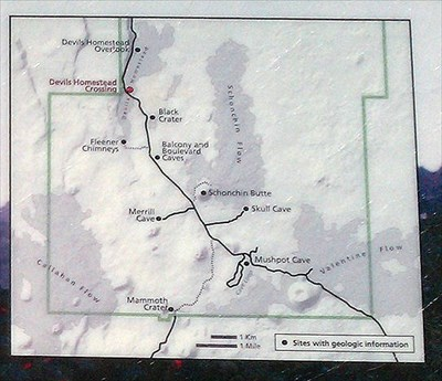 Blow up of the informative sign map that shows the location of the scenic lookout called 'Devils Homestead Crossing' at the visitor's location.