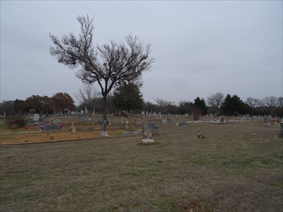 Shot from the back of the cemetery, in the general direction of the gate