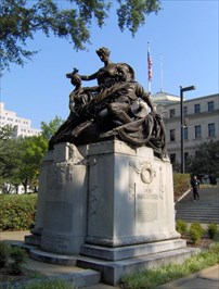 Confederate Women's Memorial outside the south entrance of the Mississippi State Capitol building.