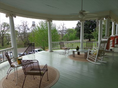 Front porch.  We were fortunate enough to have breakfast served to us here when a large group tied up the dining area.