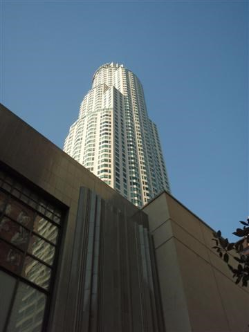 US Bank Tower -- Los Angeles, CA.  View from Grand Avenue behind the Central Library, near the Biltmore Hotel