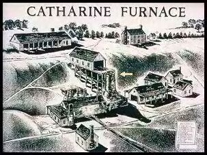 This NPS drawing shows the original layout of the furnace and surrounding area. The arrow marks the only thing left standing today.