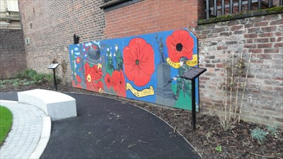 The mural is dedicated to the Lancashire Fusiliers.