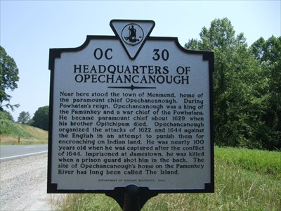 Headquarters of Opechancanough - Virginia Historical Markers on ...