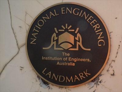 The National Engineering Landmark plaque on the Mitchells Ridge 'Trig' memorial column. 1728, Sunday, 3 October, 2016