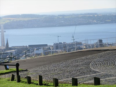The River Tay is in the background beyond the city centre with the Tay Road Bridge on the extreme left.