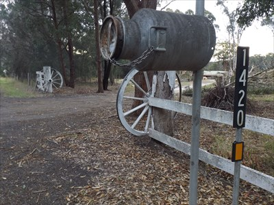 At 1420 Coomba Road, Coomba Park, is this set of wooden Wagon Wheels.