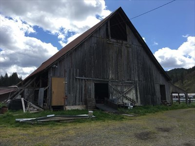 View of the west side of the barn, taken from inside the property fencing, with permission by owners.  Please don't trespass on private property.  Photo taken 4/21/2018.