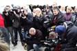 large presence of press, TV radio