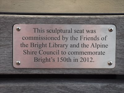 The plaque, celebrating 150 years of Bright, Victoria. 1625, 17 May, 2016