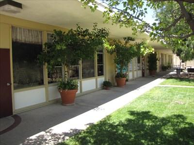 Walkway by Classrooms, Almaden Country School, San Jose, California