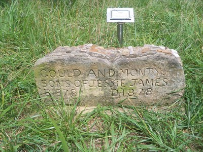 Gravestone and marker of Gould and Montgomery James
