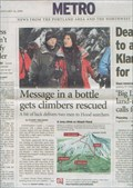 Image for Message in a bottle gets climbers rescued, Oregon
