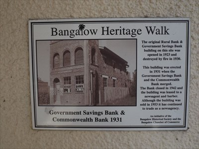 The plaque on the Bangalow Newsagent, on the Bangalow Heritage Walk, about the erection of the Bank building in 1931; but as a Newsagent since 1942.1120, Tuesday, 14 June, 2016