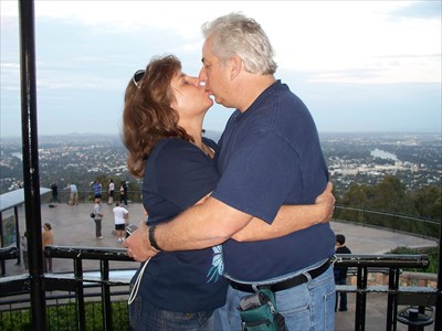 My wife Elizabeth (AKA Weblizard on GC) and myself Dale (AKA DangerousDale on GC) have a nice smooch at the lookout.