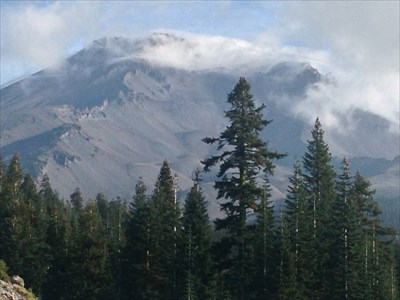 Misty Clouds Near the Top, Mt Shasta, California