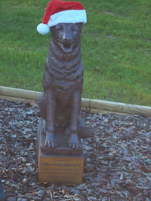 Memorial for Police Service Dog at Pinebluff Public Safety office.