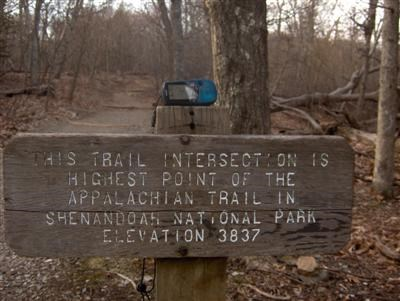 Sign at intersection of AT and Stony Man Nature Trail in SNP showing elevation at 3837 feet. GPS on top of post showed elevation at 3804 feet.