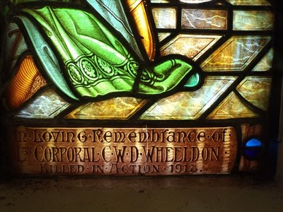 The bottom part of the Stained Glass Window, in the Bell Tower. Dedicated to L/Cpl C Wheeldon - KIA 19181058, Sunday, 29 October, 2017