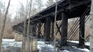 Shows the innards of this once covered bridge. Everything