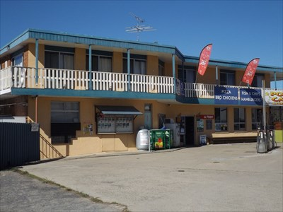 A wider view of the store, at Stuarts Point.