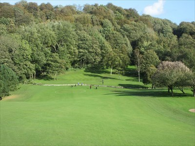 The par five seventeenth, looking down the hill to the green on the other side of the burn.