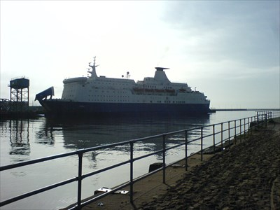 Photo of ferry taken from other side of docks