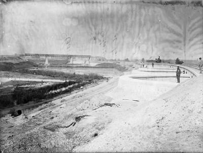 Construction du pont de l'herbens et creusement du canal de Jonage.