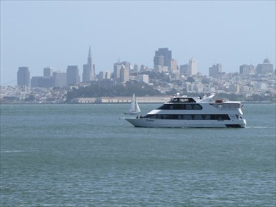 Yacht and San Francisco from the Pier, Fort Baker, CA