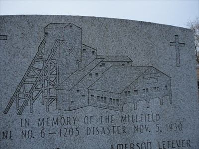 Just wanted to show the detail in the top of the monument showing a depiction of the tipple and head frame.