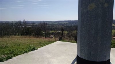 View of the Big Sugar Creek valley from the base of the Cross at River of Faith Church, by MountainWoods