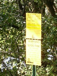 Sign gives information on fishing limits.