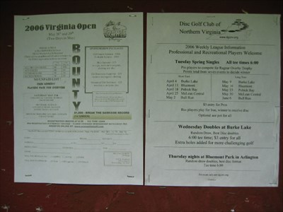 A bulletin board near tee #1 with the 2006 league schedule.