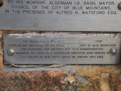 The bottom of the plaques on the sandstone boulder.1821, Monday, 3 October, 2016