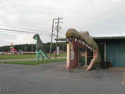 Careful! If you get by the dinosaur, you might get `eaten` by an alligator at the Luray Zoo!