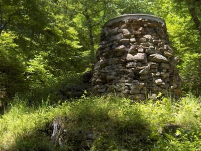 The stack is all that remains of a furnace that once had many buildings and employed dozens of workers.