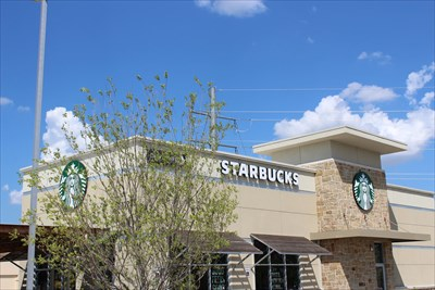 """My nod to drive-by waymarking, with a tree in the middle of everything, but hey, you can still make out """"Starbucks"""". :-)"""