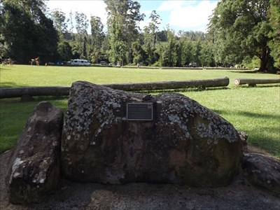 The boulder, and plaque, on the southern edge of the