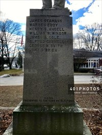 Detail: Names of the Civil War casualties from Scituate, RI are inscribed on three sides of the monument's base. The north list is -   JAMES SEAMANS WARREN EDDY HENRY S. ANGELL WILLIAM W. WINDSOR JASMES A. COLE ALFRED CASWELL GEORGE H. SMITH JOHN O'BRIEN
