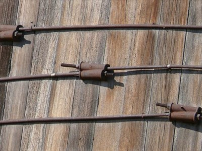 It looked like these had to be steel cables joining around the circumference of the side wall area of the Tower.