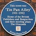 Image for 'Tin Pan Alley' Blue Plaque - Denmark Street, London, UK