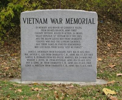 Vietnam War Memorial, Main Street, Drake's Branch, VA, USA - Vietnam