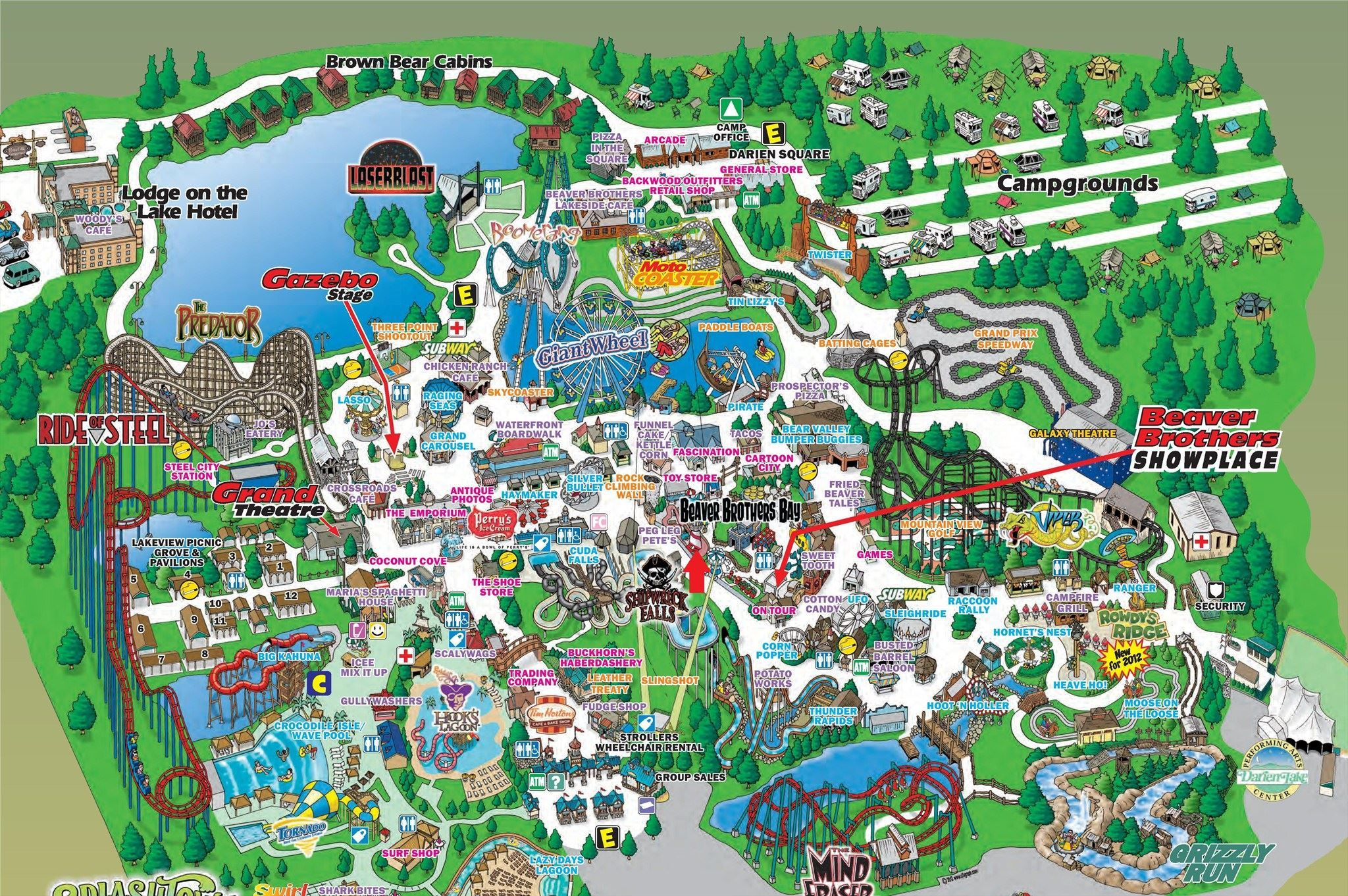Darien Lake Theme Park Resort Park Map