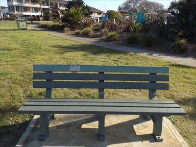 The plastic bench next to the entrance of Wallis Lake. 1508, Friday, 12 August, 2016
