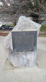 The commemorative American Legion marker across the street from the Woodman of the World / Knights of Pythias lodge building.