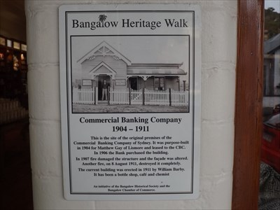 Historical Marker for the prior Commercial Bank building where the Bangalow Pharmacy is today.1132, Tuesday, 14 June, 2016