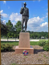 The soldier statue formerly was located in a small